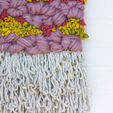 Woven Wall Hanging with Recycled Sari Silk and Brass Beads