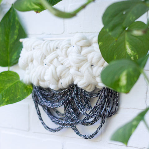 Small Black + White Woven Wall Hanging
