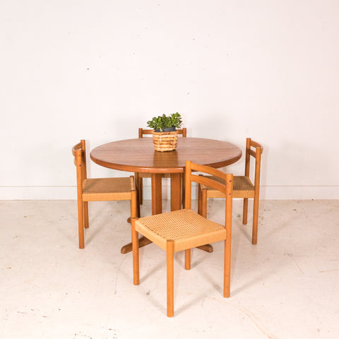 Danish Teak Round Dining Table with 2 Leaves