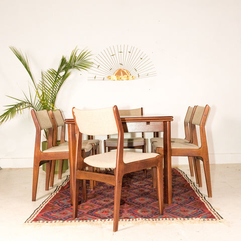Dark Teak Dining Set with 6 Chairs