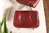 Red Leather Eames Style Lounge Chair and Ottoman