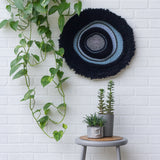 Black Fringe Round Woven Wall Hanging