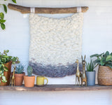 Neutral Woven Wall Hanging on Driftwood