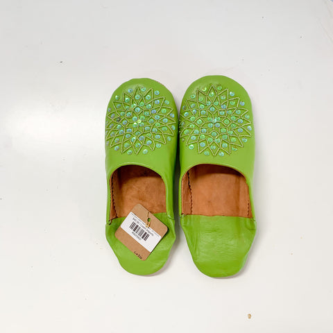 Lime Green Leather Sequin Slippers - W's Size 8-9
