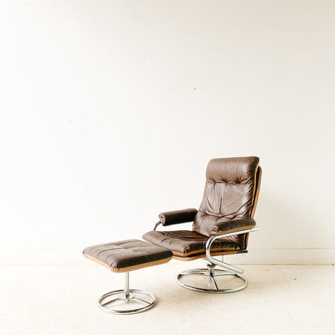 Brown Ekornes Chair and Ottoman