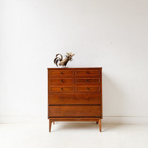 Mid Century Modern Highboy Dresser with Black Drawer Pulls