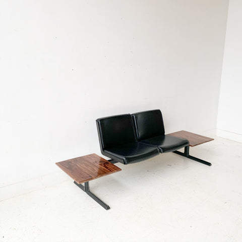 Mid Century Modern Bench with New Black Walnut End Tables