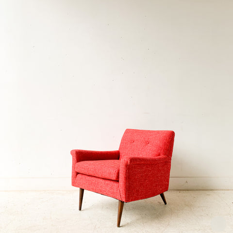 Mid Century Lounge Chair w/ Red Tweed