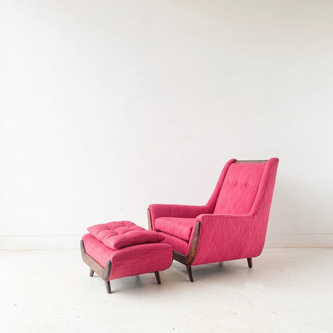 Mid Century Modern Lounge Chair and Ottoman with New Fuschia Upholstery