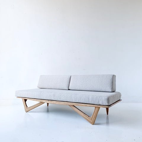 Limited Edition Zebra Wood Platform Sofa with Boomerang Legs