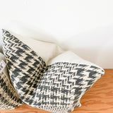 "Pair of 22"" Black/ Cream Houndstooth Pillows"