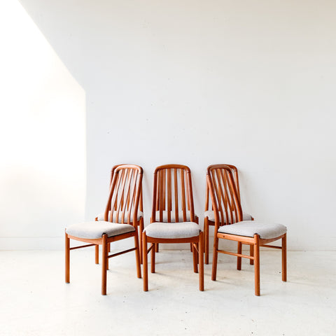 Set of 6 Teak High Back Dining Chairs