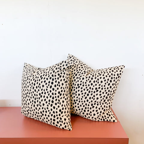 Pair of Black and Cream Spotted Pillows