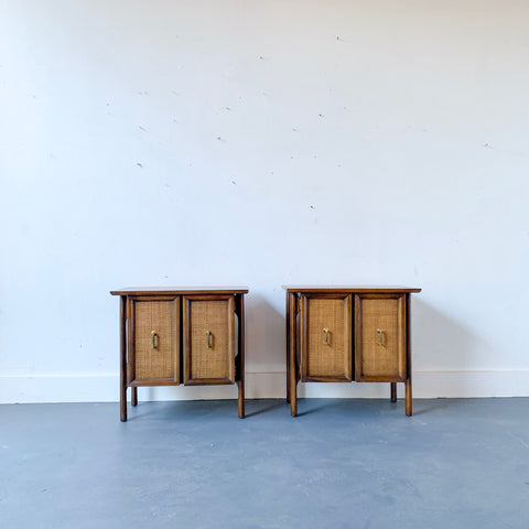 Pair of Cane Front Nightstands