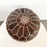 Leather Pouf - Brown