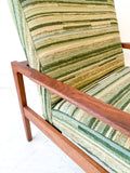 Pair of Walnut Lounge Chairs w/ New Striped Green Upholstery