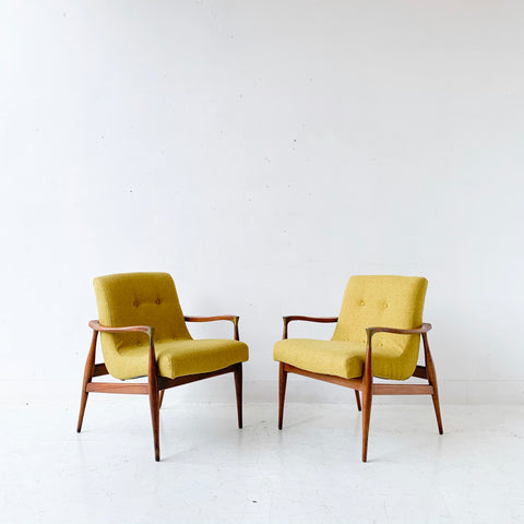 Pair of Mid Century Modern Scoop Chairs with New Mustard Upholstery