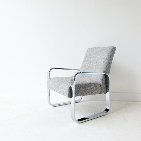 Modern Chrome Chair with New Grey Upholstery