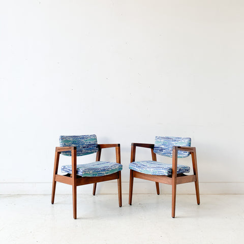Pair of Mid Century Modern Occasional Chairs by Gunlocke with New Blue/Green Upholstery