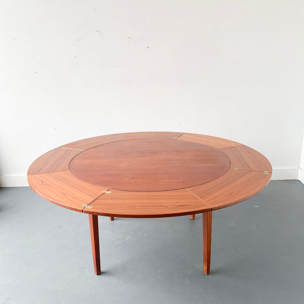 Mid Century Modern Danish Teak Round Expandable Dining Table By Dyrlun Atomic Furnishing Design