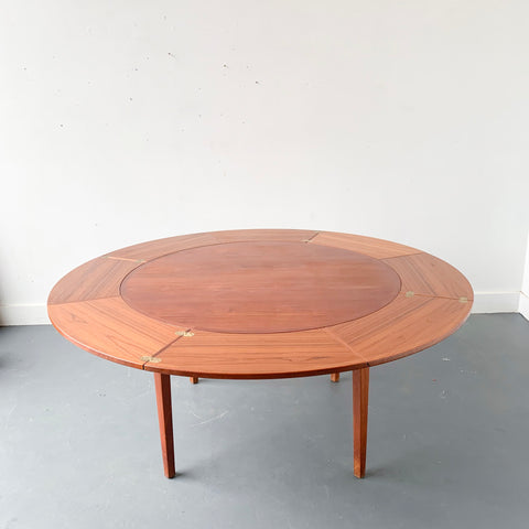 Mid Century Modern Danish Teak Round Expandable Dining Table by Dyrlund