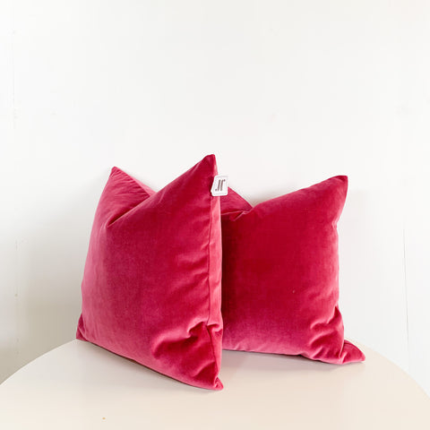 "PAIR OF 22"" MAGENTA VELVET PILLOWS"