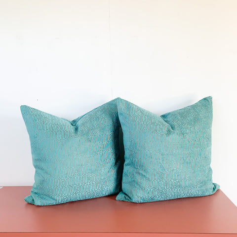 Pair of Blue Chenille Pillows