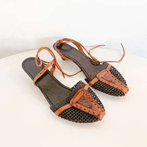 Woven Italian Leather Heels 10