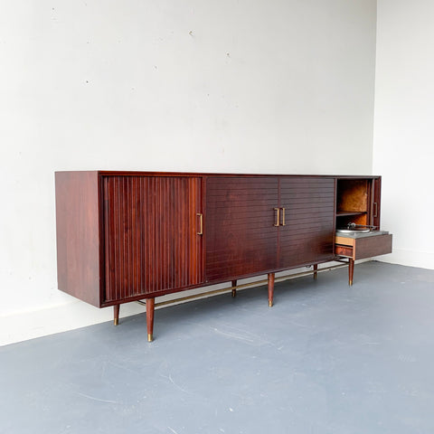 Mid Century Modern Audiophile Media Cabinet with Tambour Doors