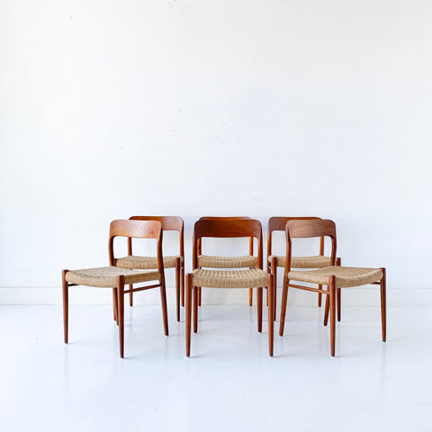 Set of 6 Danish Teak Niels Moller Dining Chairs - Model 75