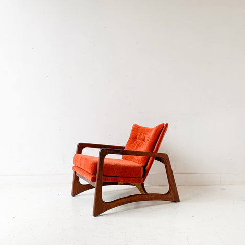 Mid Century Modern Adrian Pearsall Lounge Chair with New Orange/Red Upholstery
