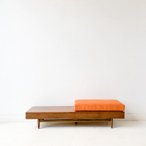 Mid Century Modern Bench with New Upholstery by American of Martinville