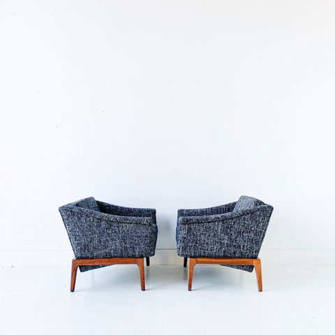 Pair of Mid Century Modern Milo Baughman Lounge Chairs with New Upholstery