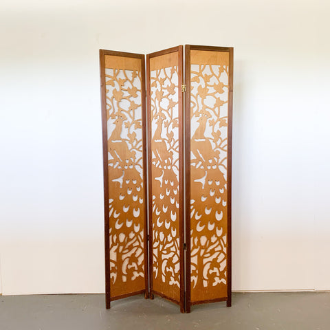Vintage Wood Cutout Peacock Room Divider - 3 panel
