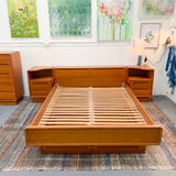 Mid Century Modern Teak Queen Size Platform Bed with Nightstands