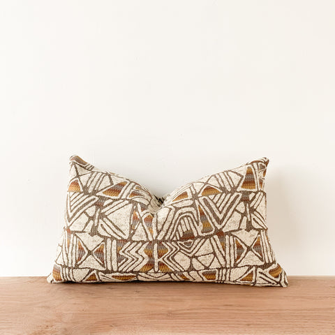 Geometric Lumbar Pillow - Tan/White