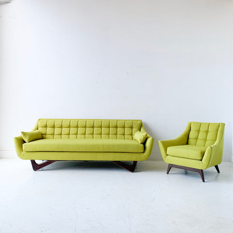 Mid Century Modern Sofa and Lounge Chair with New Chartreuse Upholstery