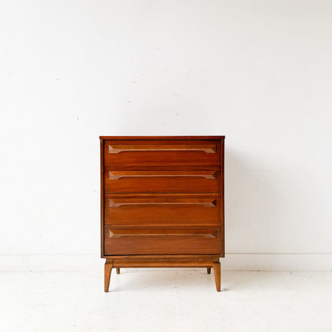 Mid Century Modern Highboy Dresser with Sculpted Drawer Pulls