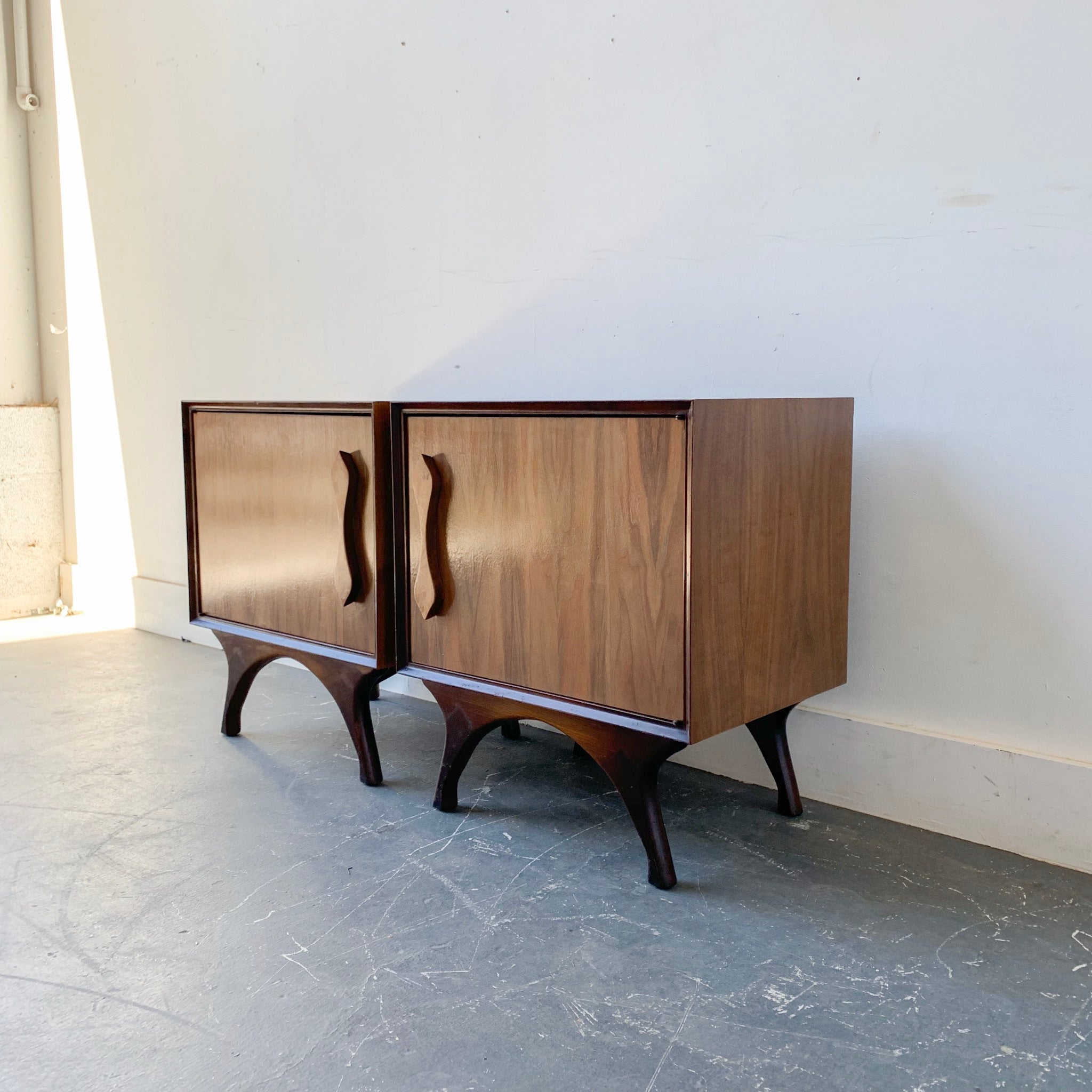 Pair of Mid Century Modern Burl + Bookmatched Nightstands