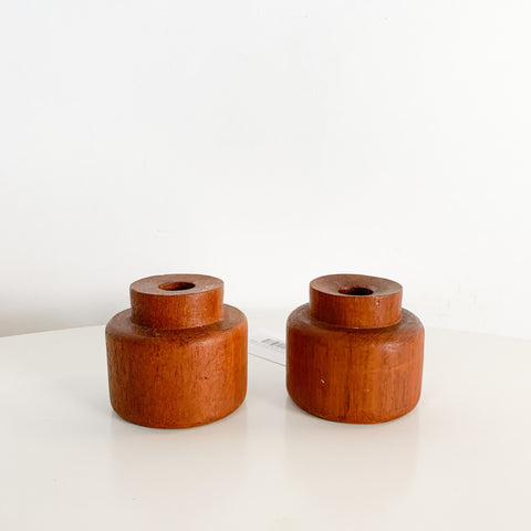 Pair of Mid Century Teak Wood Candle Holders
