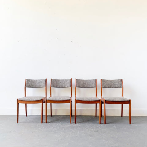 Set of 4 Danish Teak Dining Chairs with New Upholstery