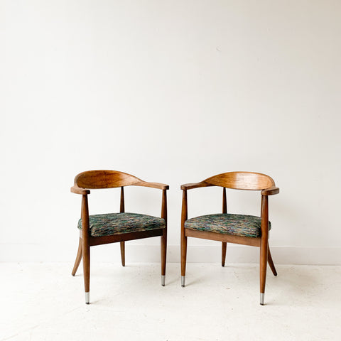 Pair of Mid Century Occasional Chairs with New Rainbow Upholstery