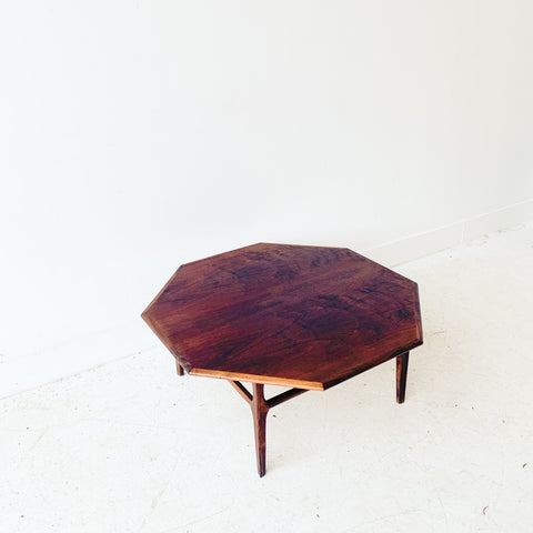 Mid Century Walnut Octagon Coffee Table