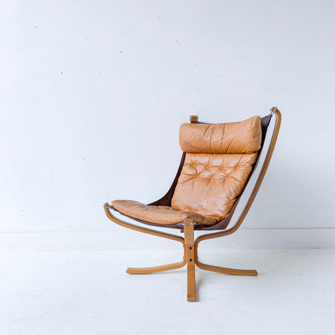 Mid Century Modern Falcon Chair with Original Leather