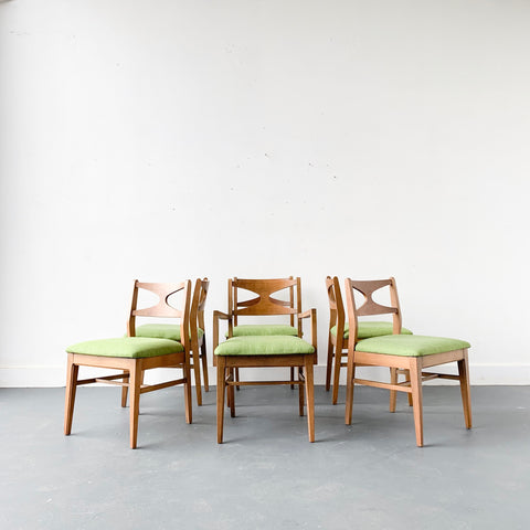 Set of 6 Mid Century Modern Dining Chairs with New Green Upholstery