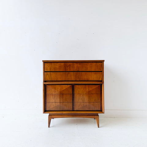 Mid Century Modern Diamond Front Highboy Dresser