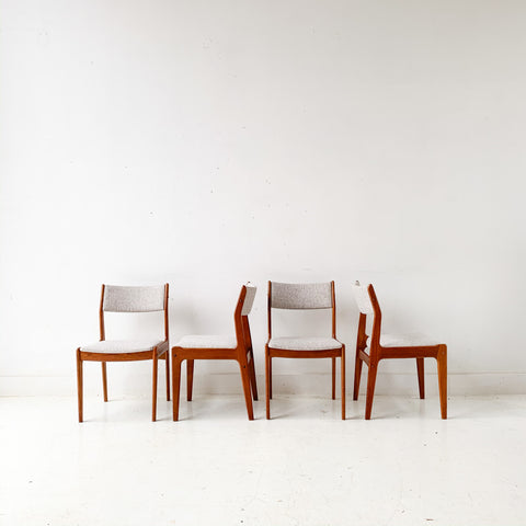 Set of 4 Mid Century Teak Dining Chairs with New Upholstery