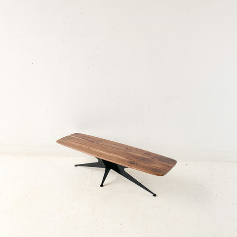 Black Walnut Coffee Table with Metal Base by atomic