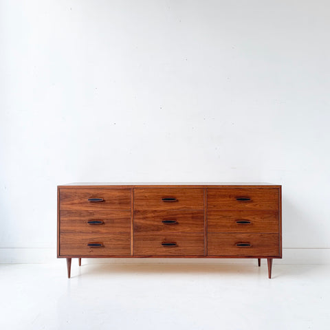 Mid Century Modern 9 Drawer Walnut Dresser