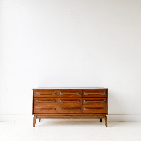 Mid Century Modern Sculpted Front Low 9 Drawer Dresser